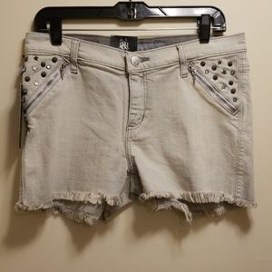 Rock & Republic Pale Gray Studded Pixie Shorts-8